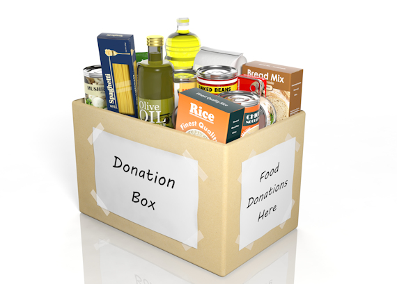 Donation box with food supplies