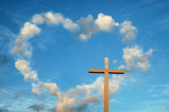 cross with clouds in shape of a heart